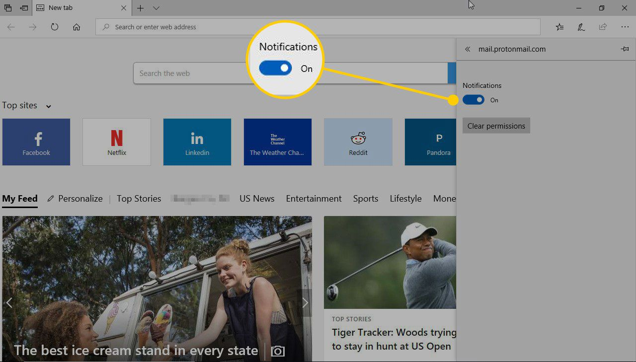 Notifications switch in Edge