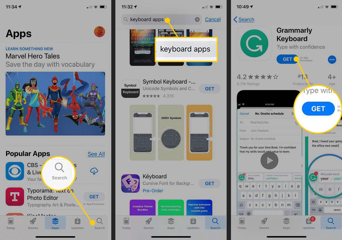 Downloading keyboard app in the iOS App Store