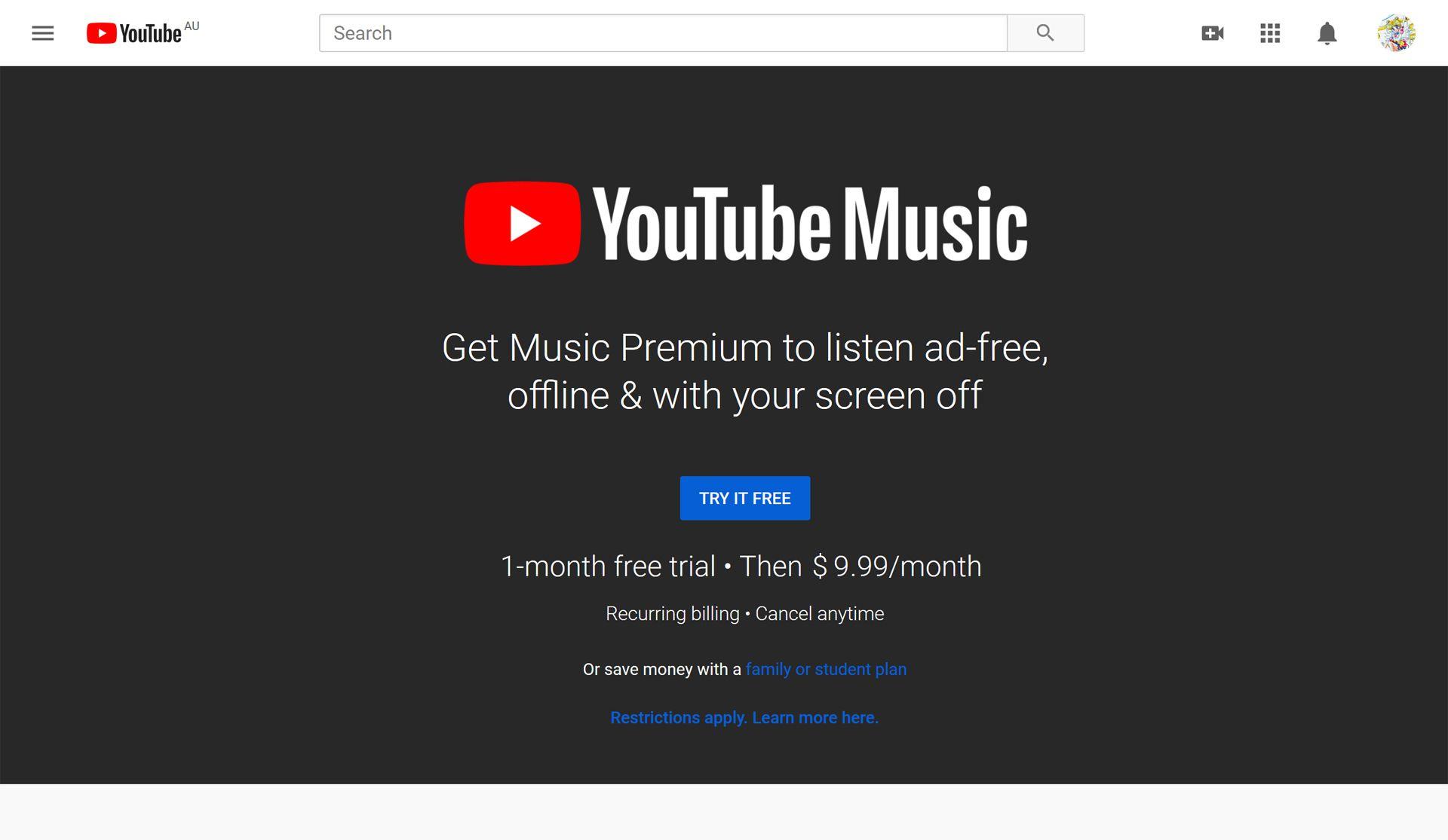 YouTube Music website.