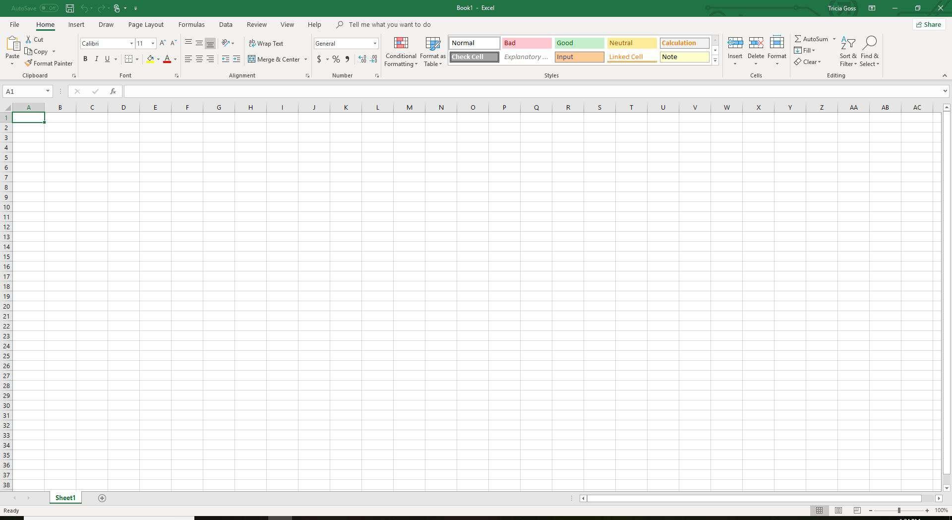 Basic Excel spreadsheet