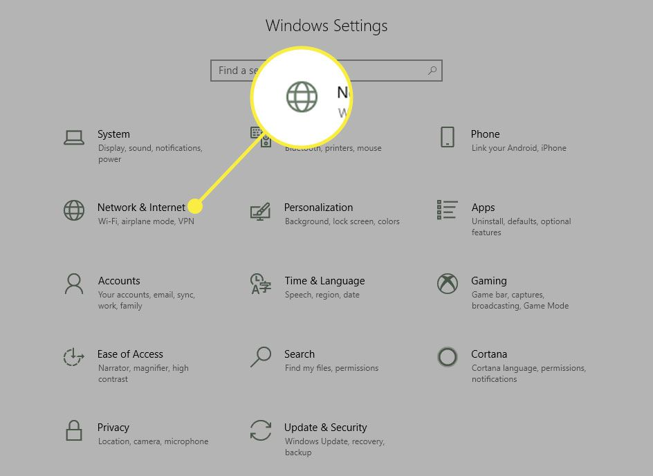 A screenshot of Windows settings with the Network & Internet section highlighted