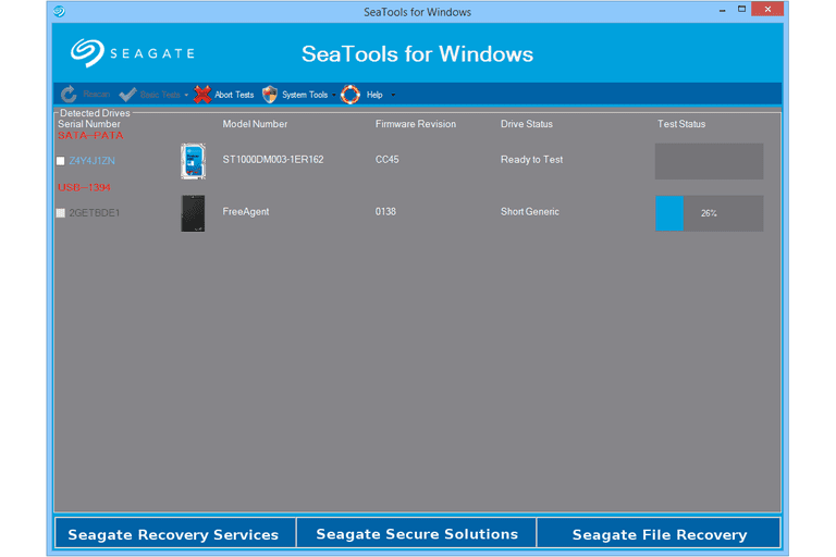 Seagate SeaTools for Windows in Windows 8