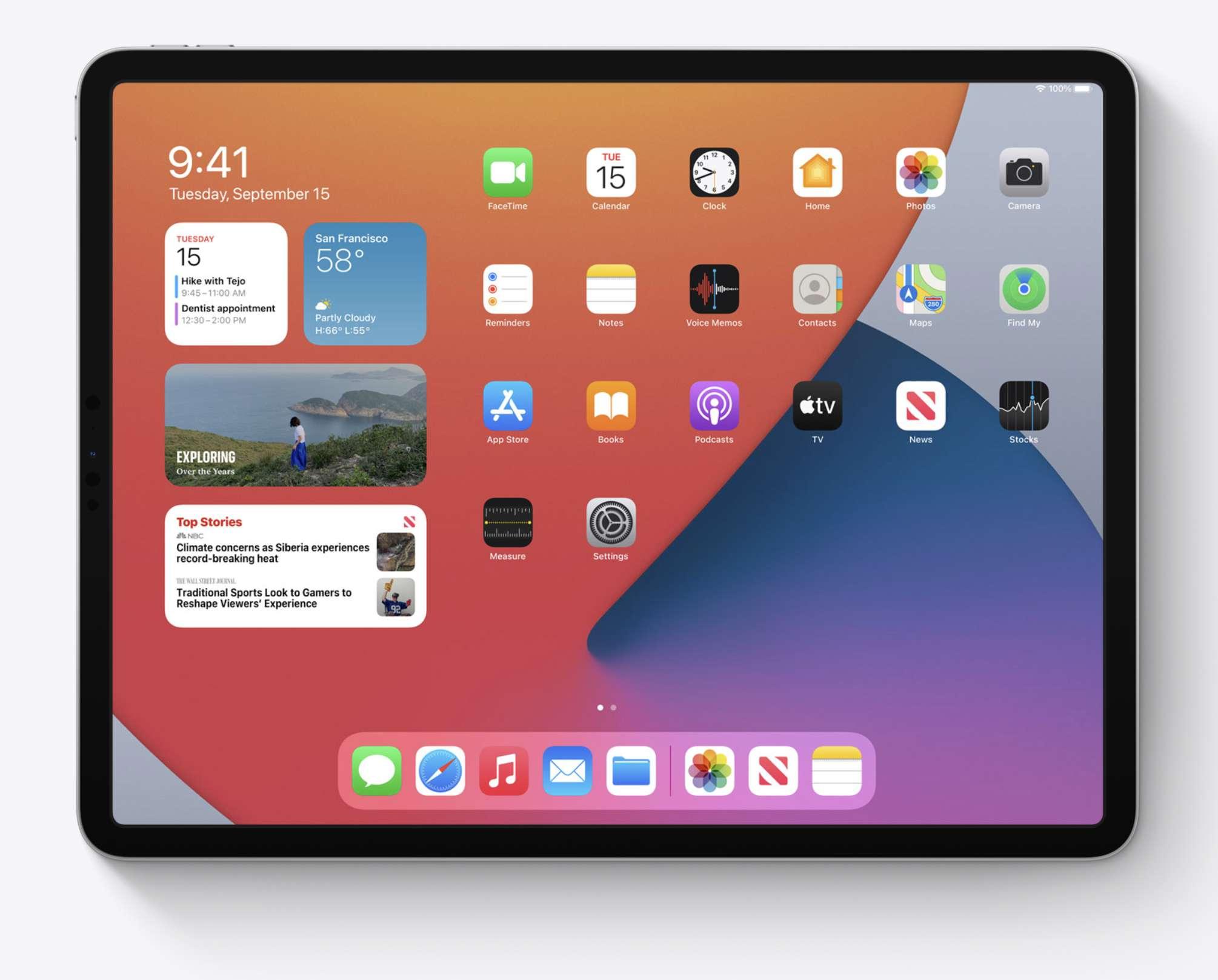 iPadOS 14 redesigned widgets.