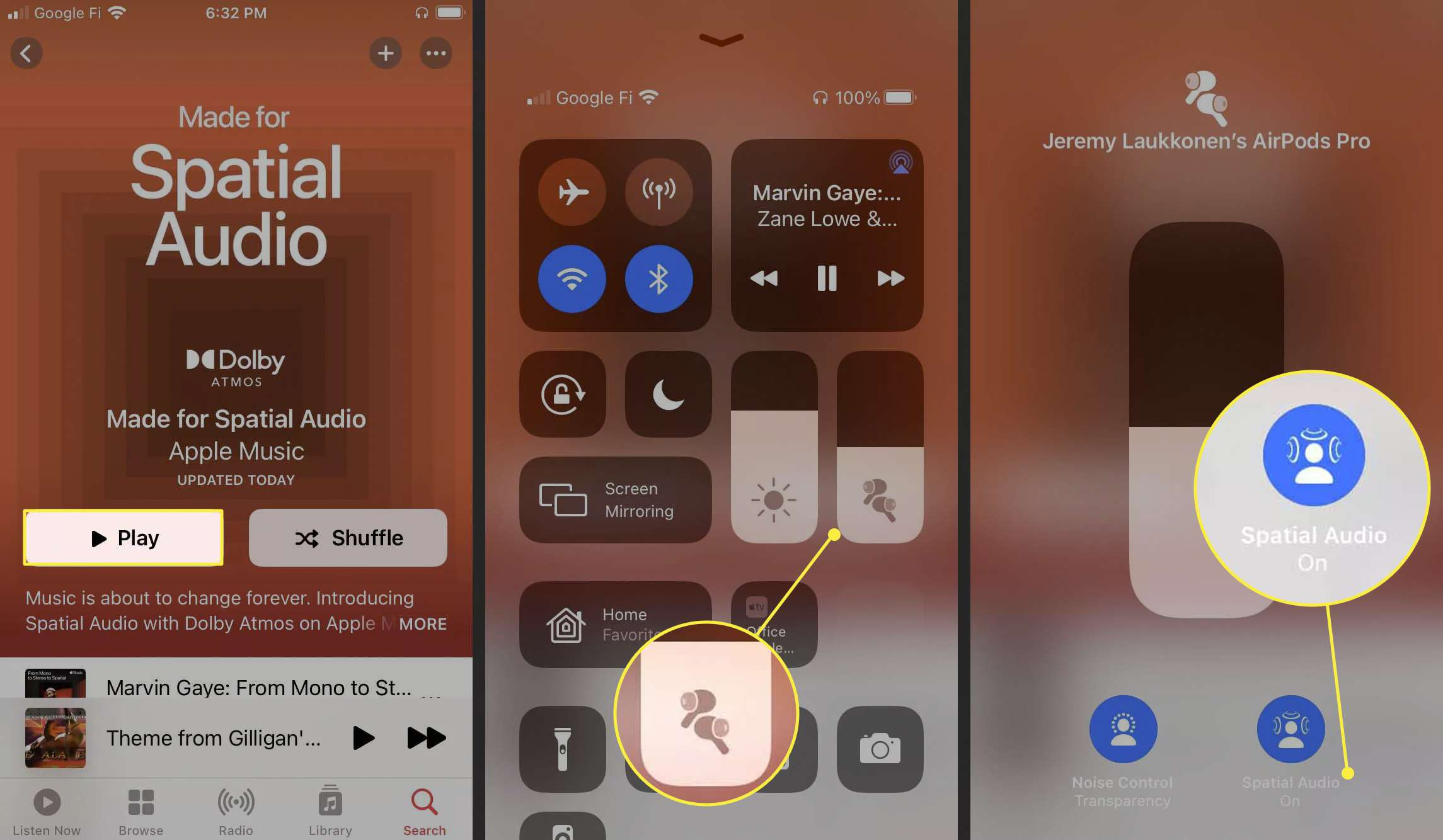 Steps to turn on Spatial Audio via the Control Center on iOS.