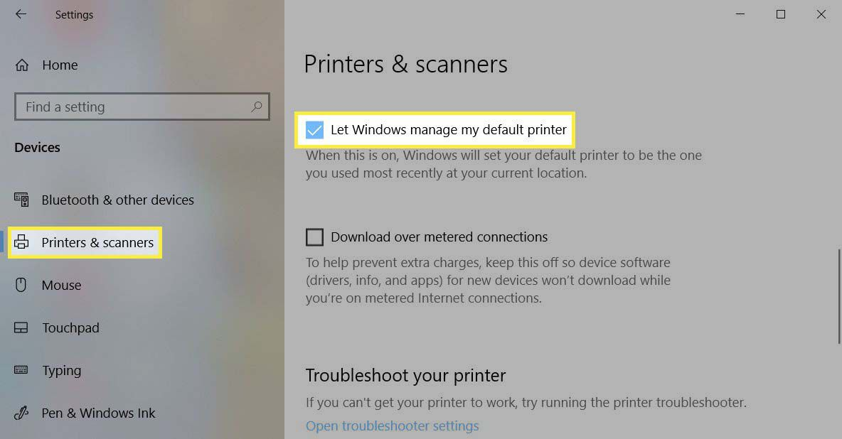 Check the box for Let Windows manage my default printer.