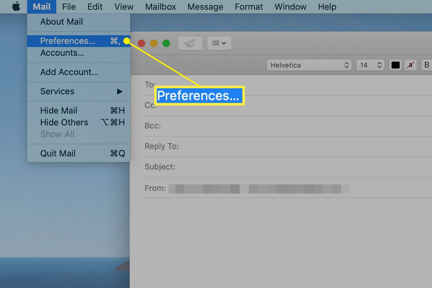 Path to Mail Preferences on a Mac
