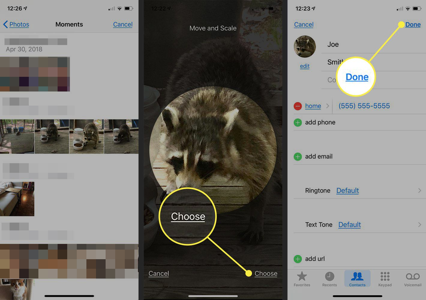iPhone screenshots showing how to use an existing photo for a contact