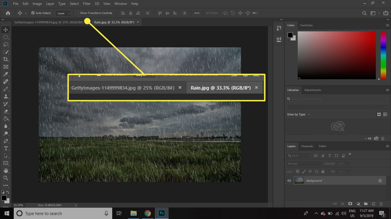 A screenshot of Photoshop with the document tabs highlighted