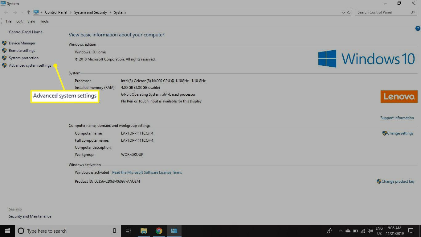 Advanced System Settings. highlighted in the System window