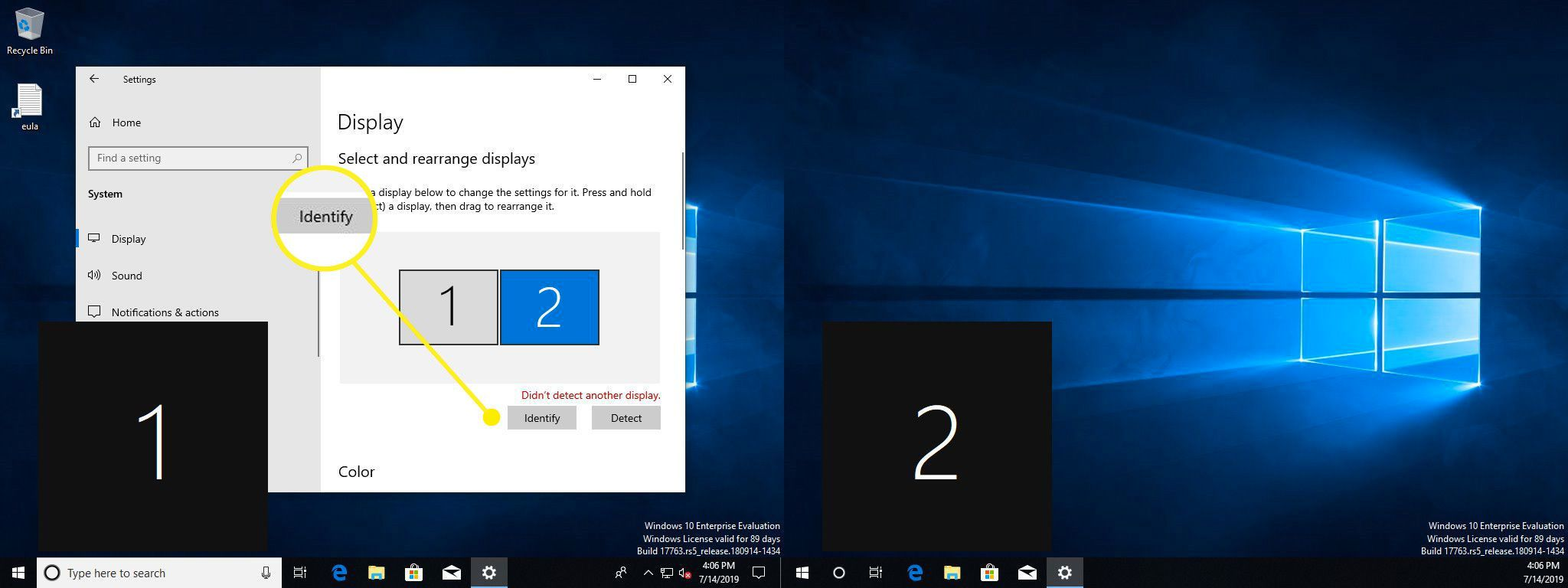 Dual monitors in Windows with the Identify button highlighted