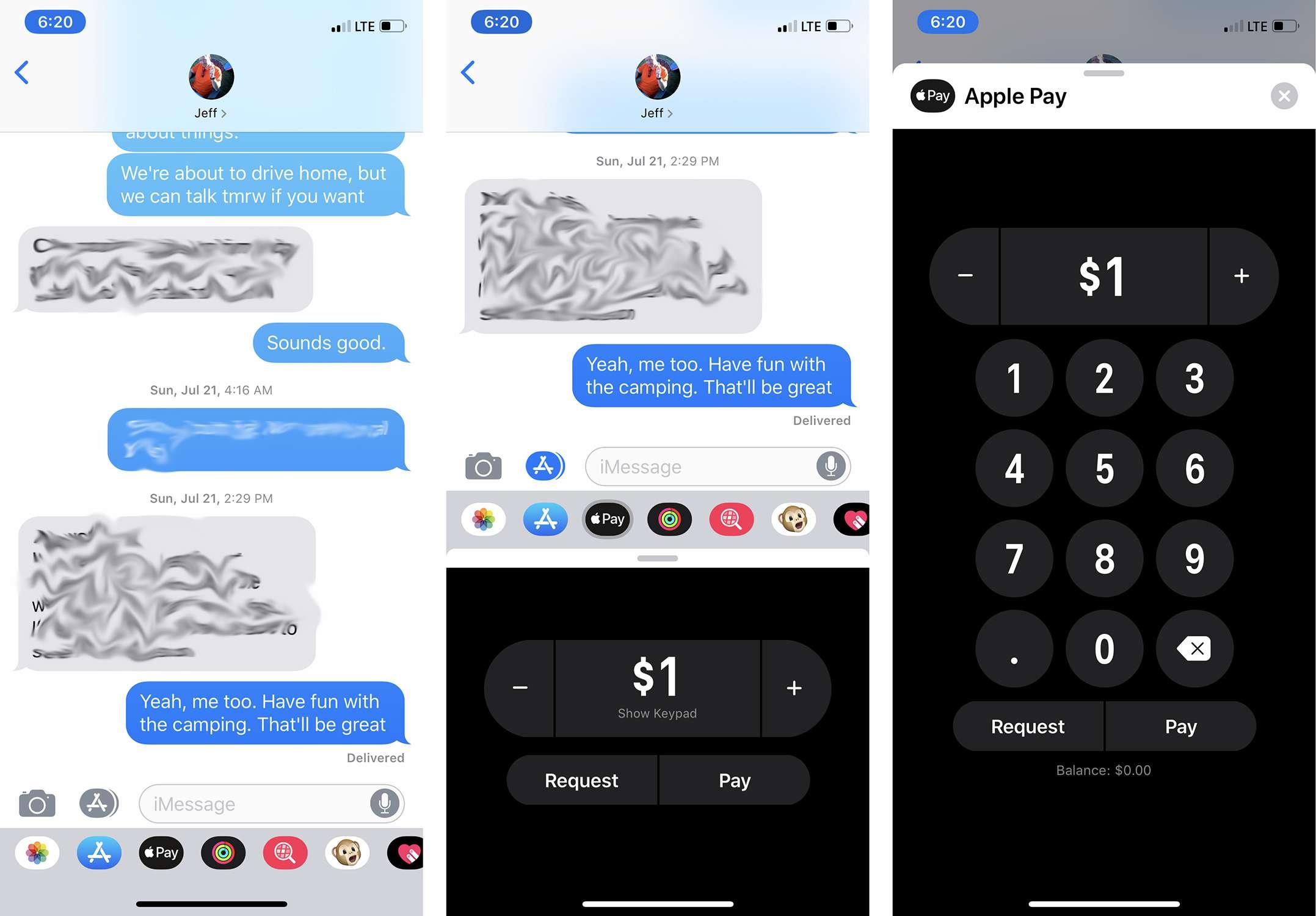 Screenshots of sending money with Apple Pay Cash