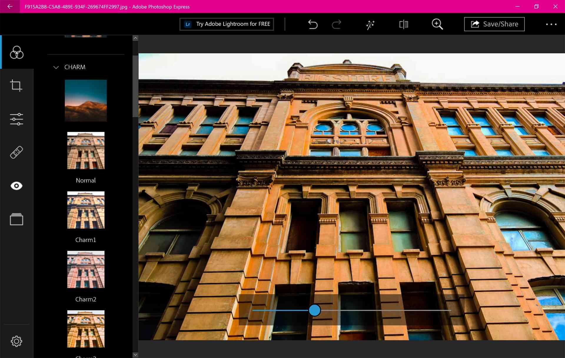 Windows 10 Photoshop Express app on Surface Pro 7.