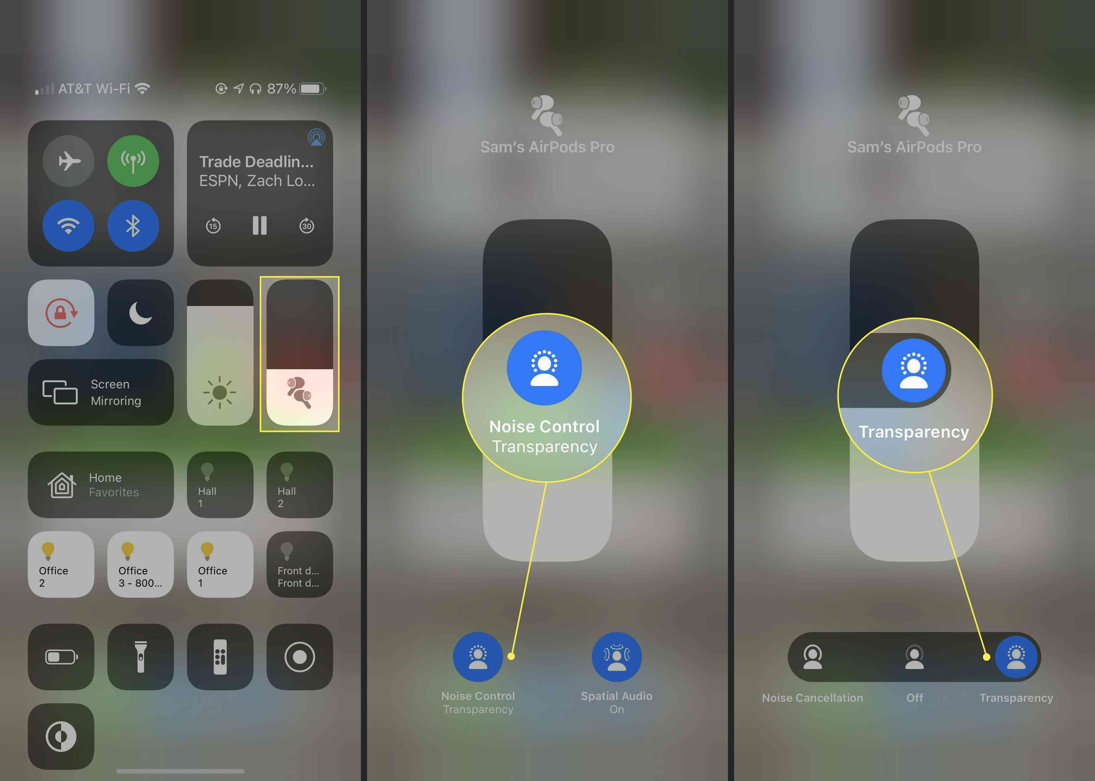Steps to turn on Transparency mode on AirPods via Control Center on an iPhone.