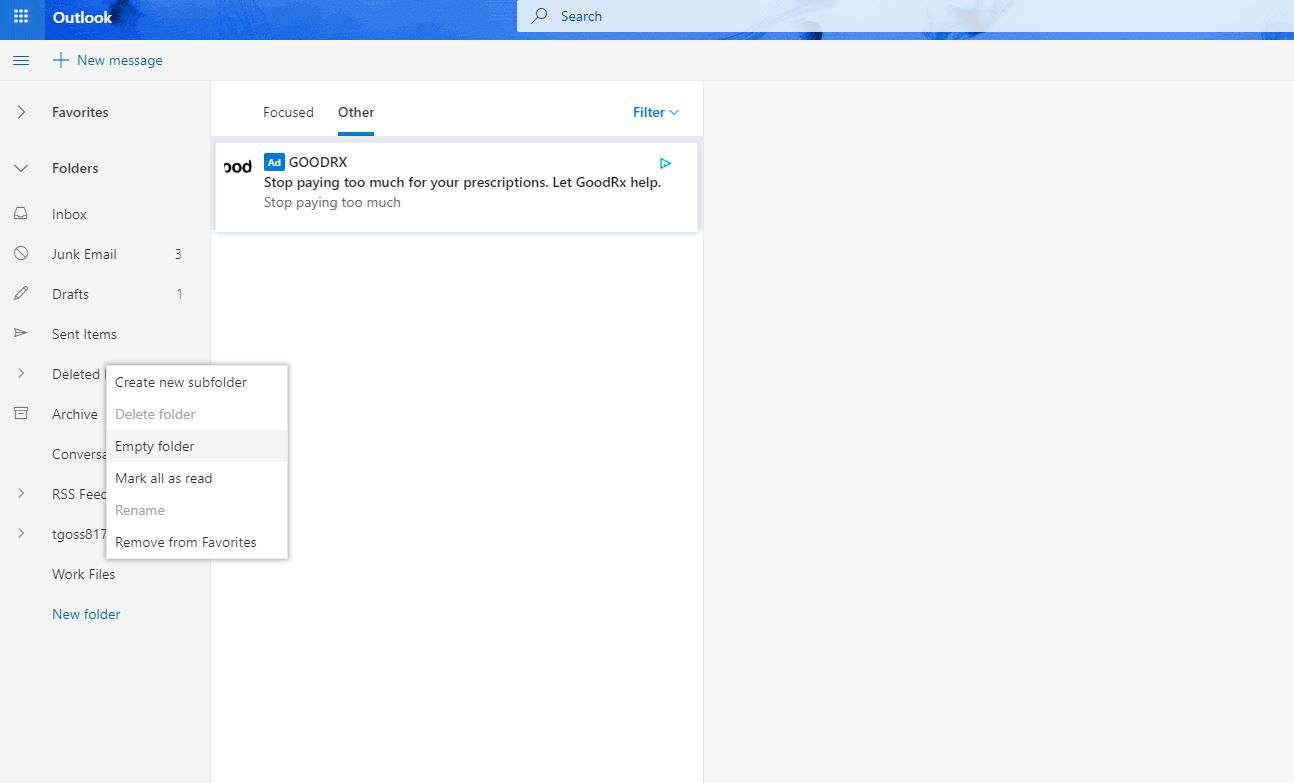 Screenshot of Empty Folder in Outlook.com