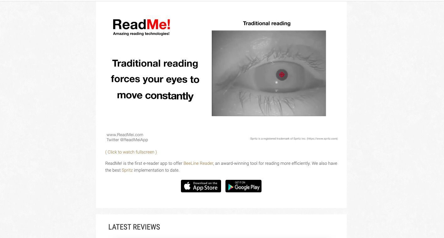 Read Me! Speed reading app with explanation of how the tool eases eyestrain
