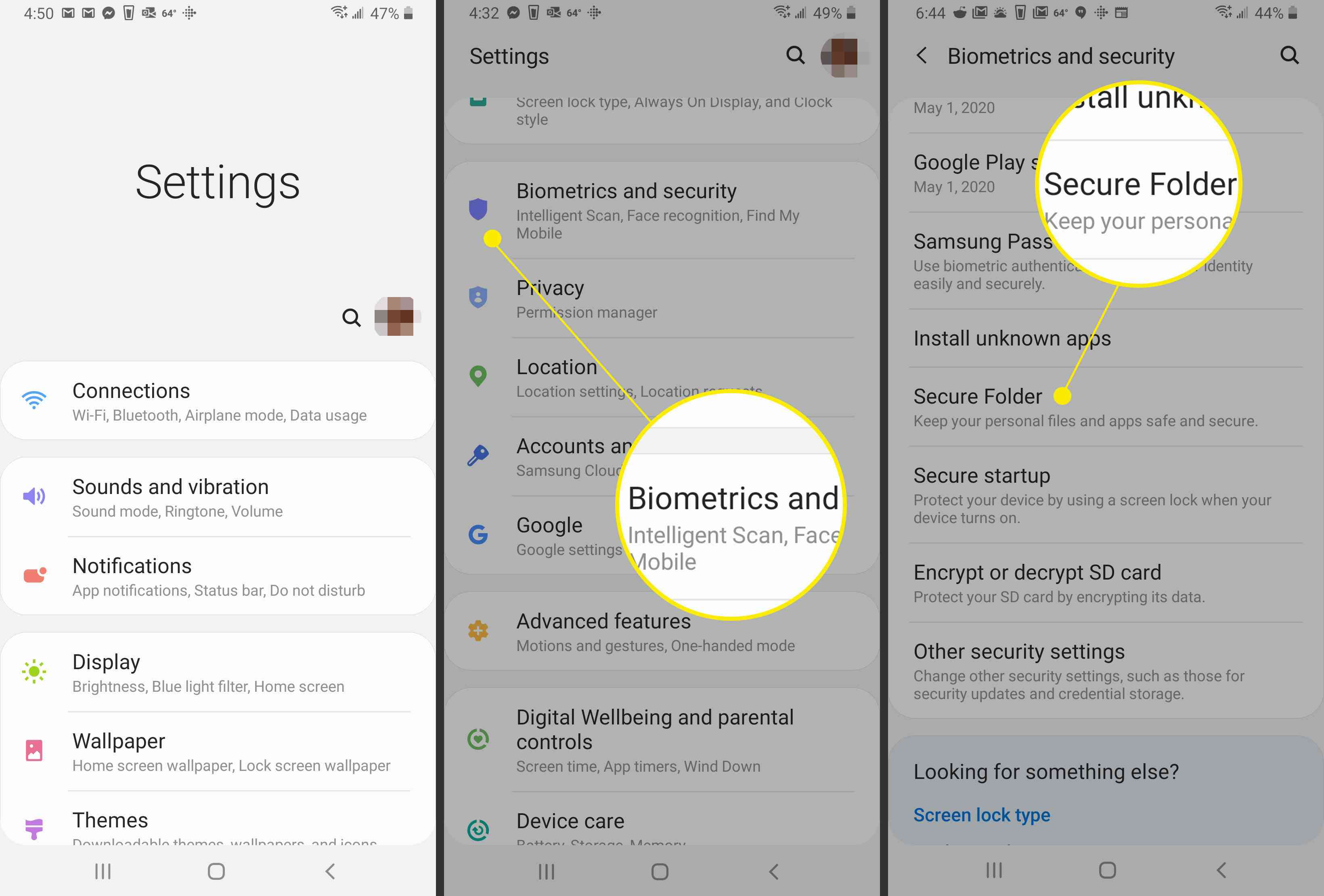 Selecting the Secure folder settings in Android.