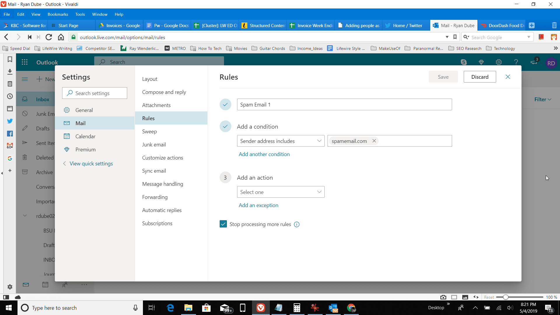 Screenshot of typing domain name to block in Outlook online