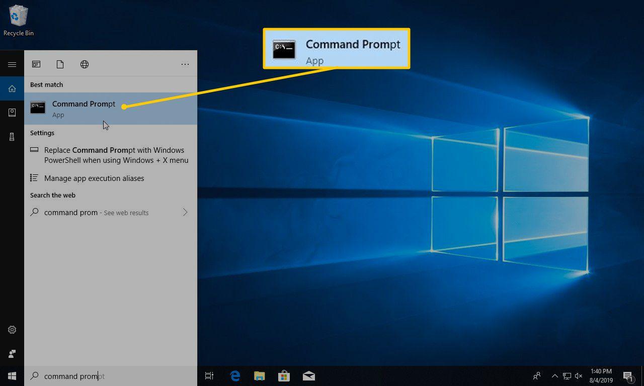 Command Prompt in Start menu