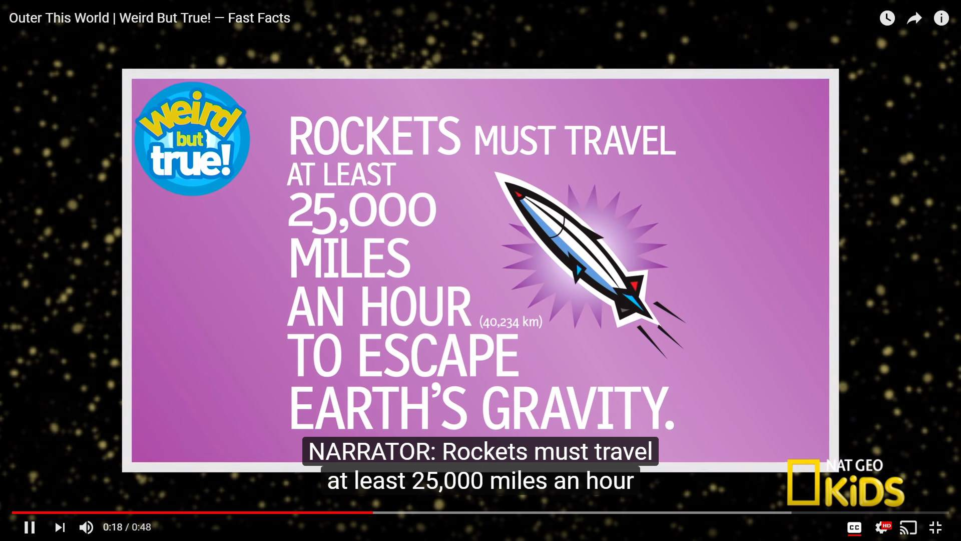 NatGeo Kids' video screenshot with an illustration of a rocket and rocket facts
