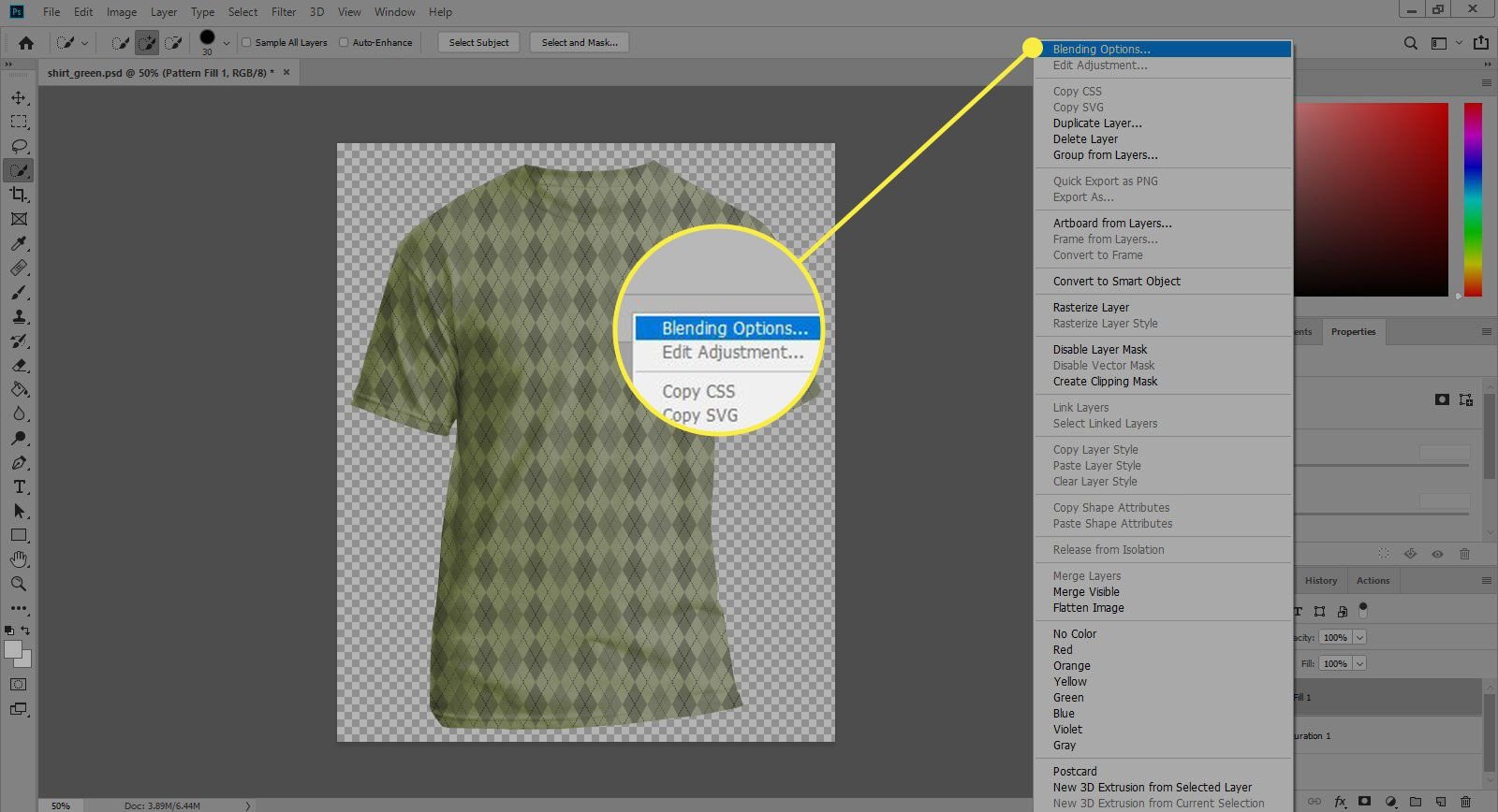 A screenshot of Photoshop with the Blending Options command highlighted