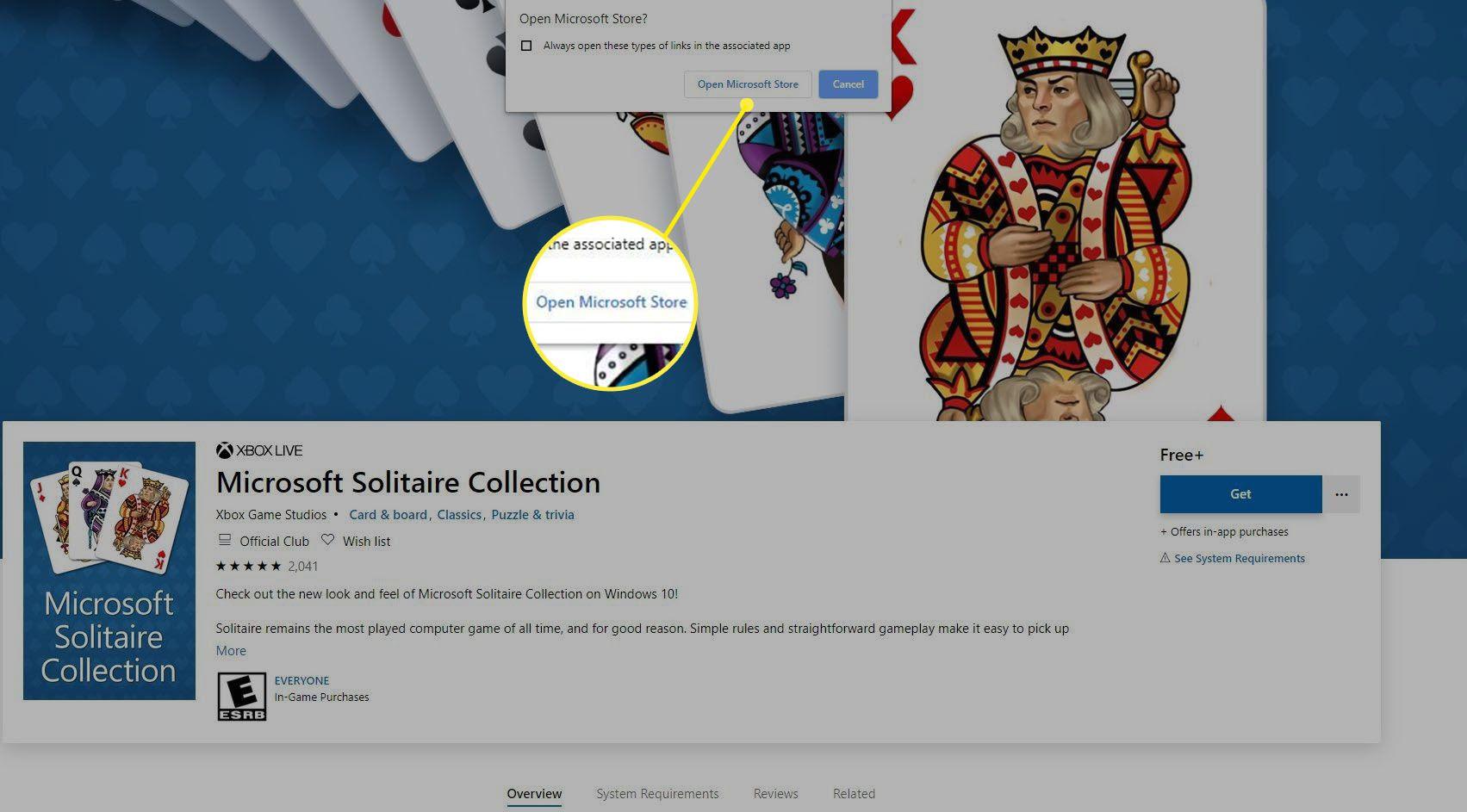 Screenshot of Open Microsoft Store prompt