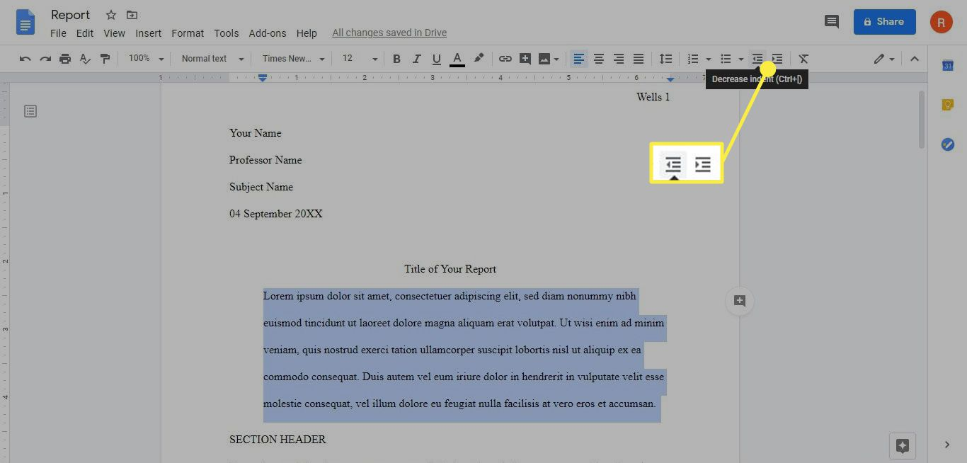 The increase and decrease indent options in Google Docs.