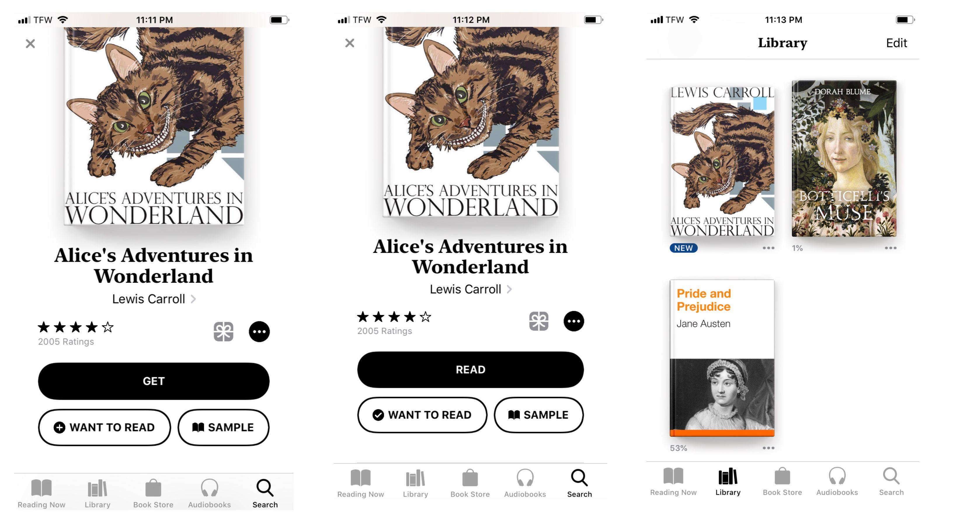 Screenshot of book home screen on iPhone