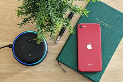 An Amazon Echo connected to an iPhone.