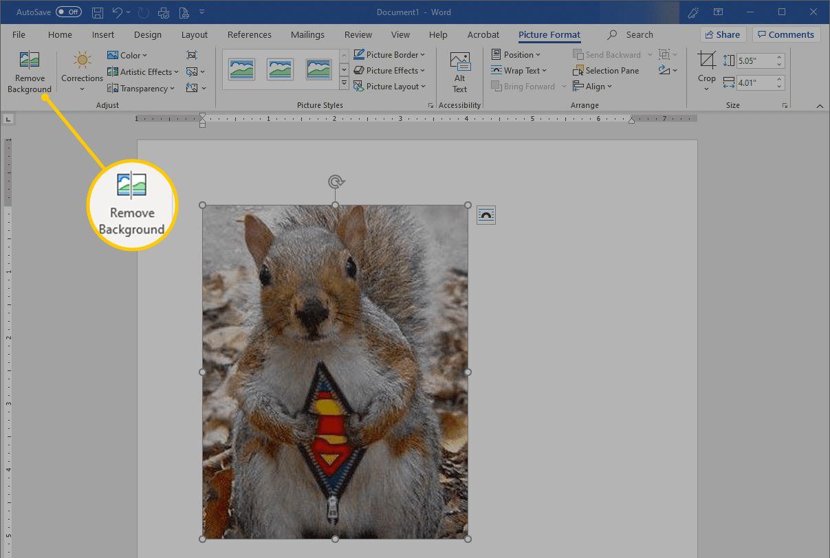 Remove Background button in Microsoft Word