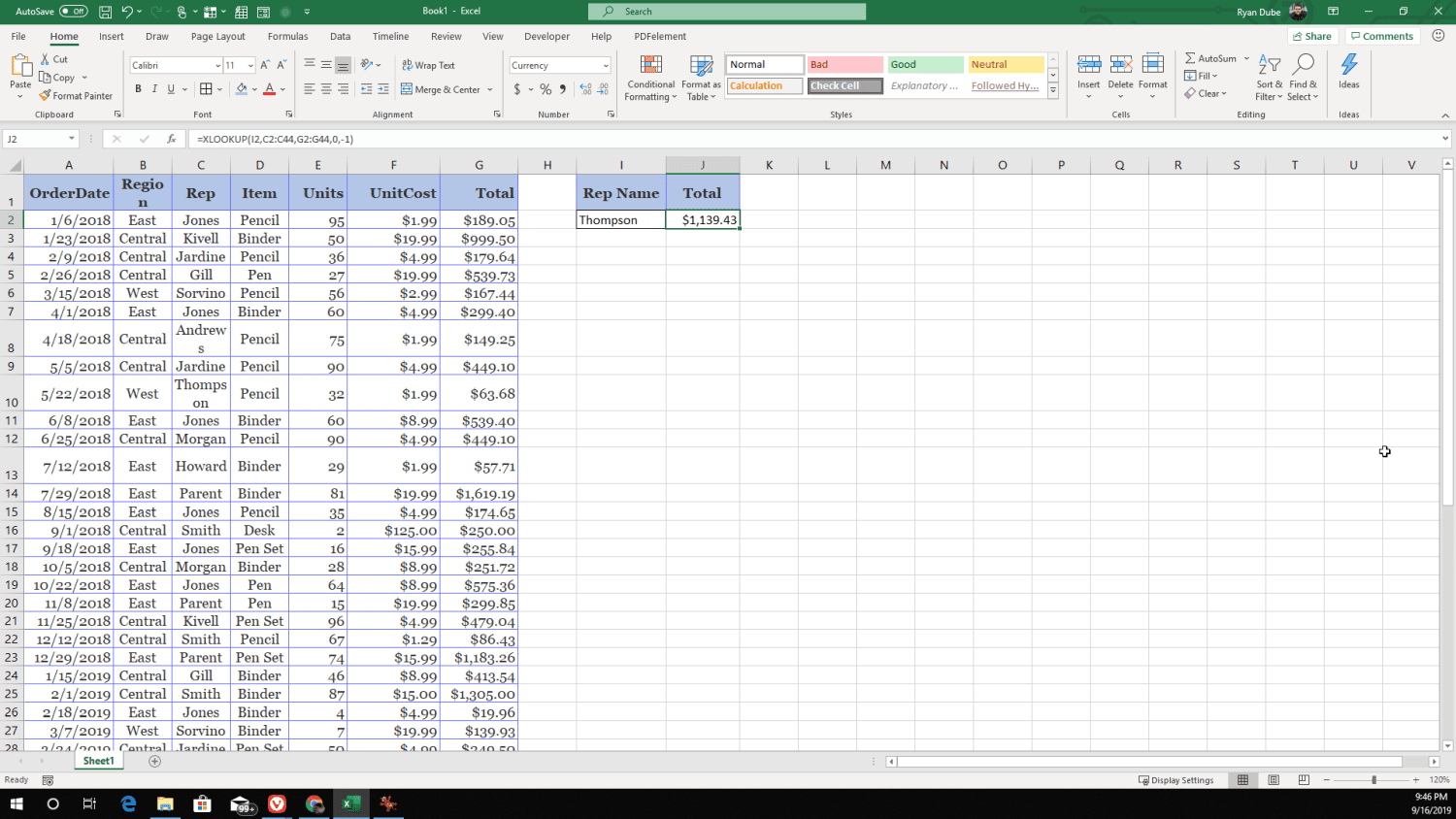 Screenshot of searching for last item in a lookup array using XLOOKUP