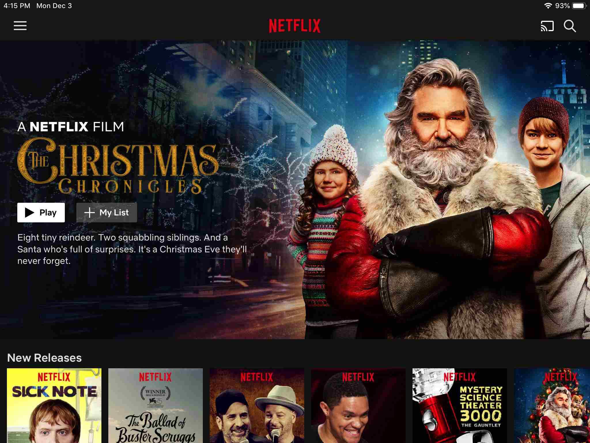 Netflix app screen on iPad
