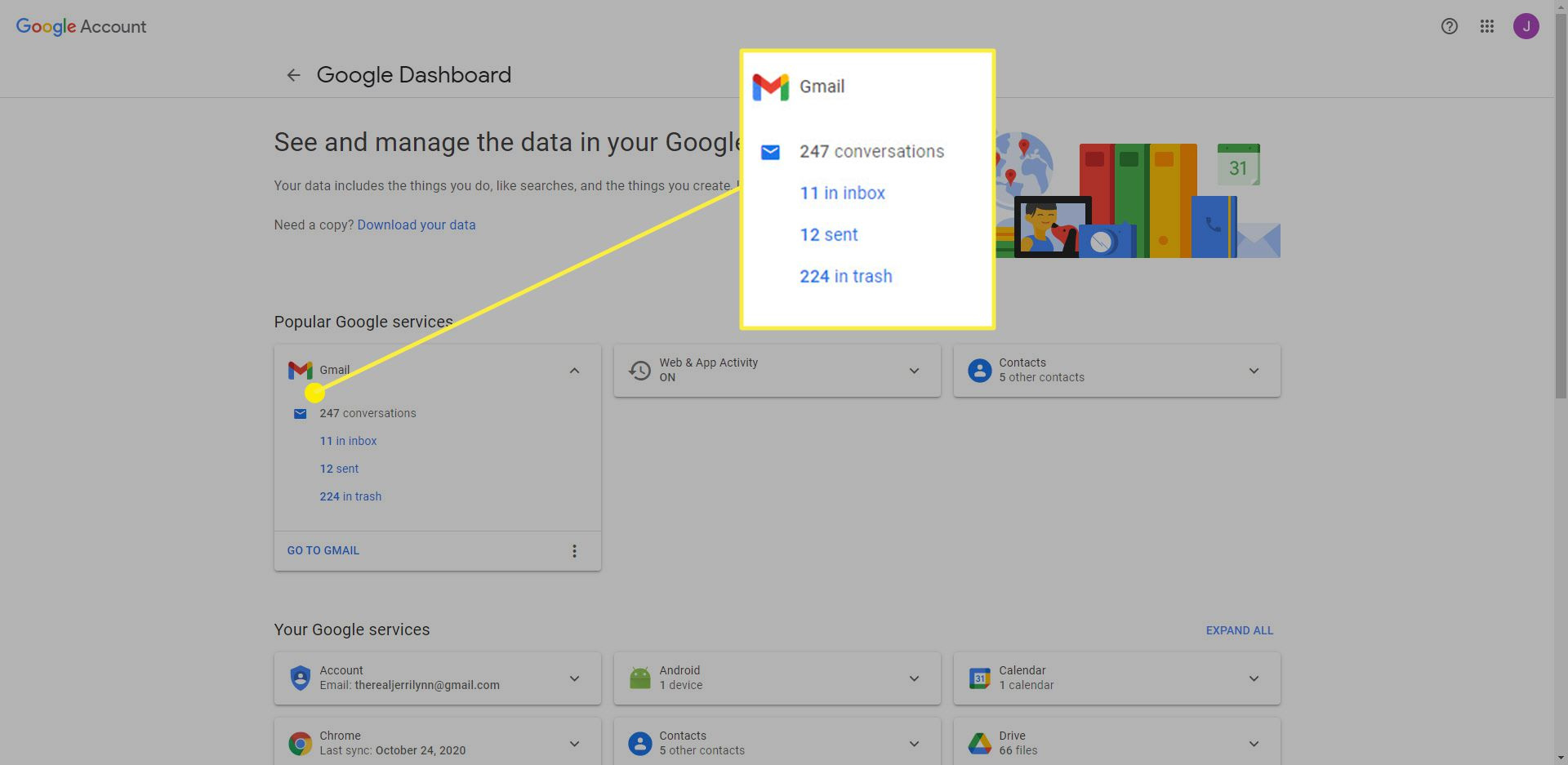 Google Services with the Gmail information highlighted