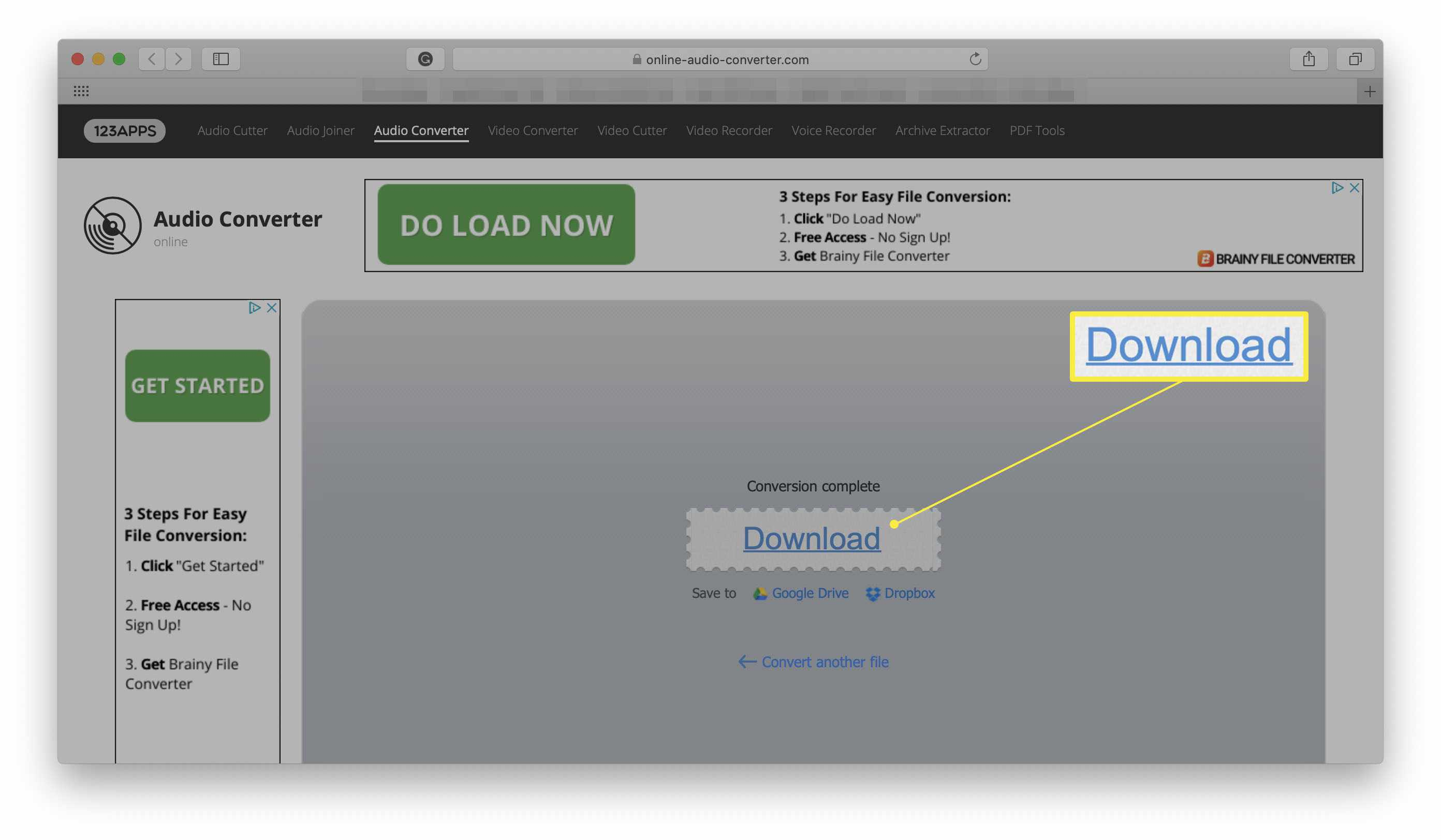 Online Audio Converter website with Download prompt for completed converted file