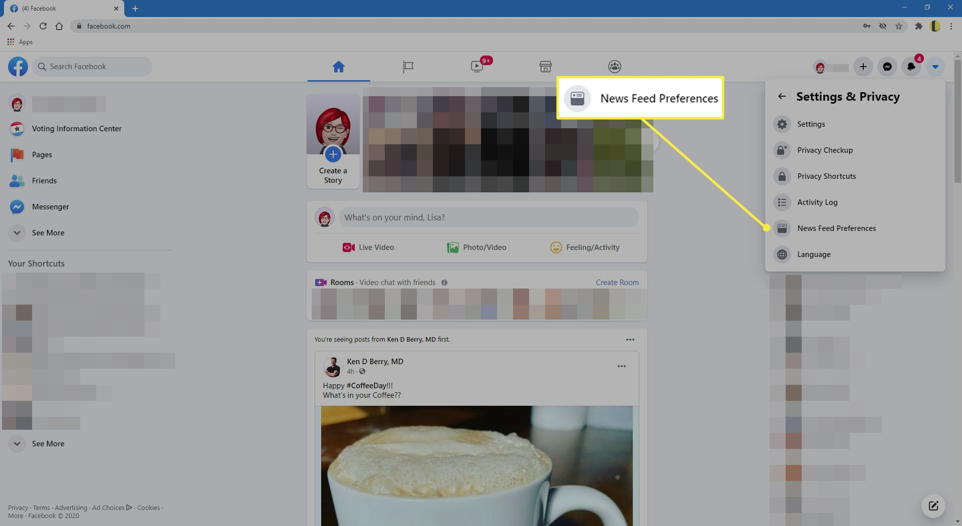 News Feed Preferences.