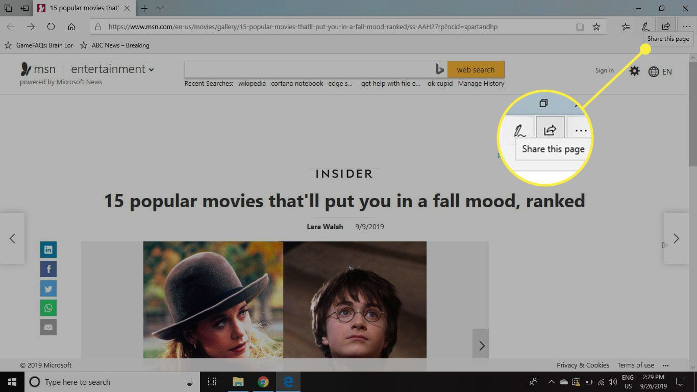 The Share button in Edge