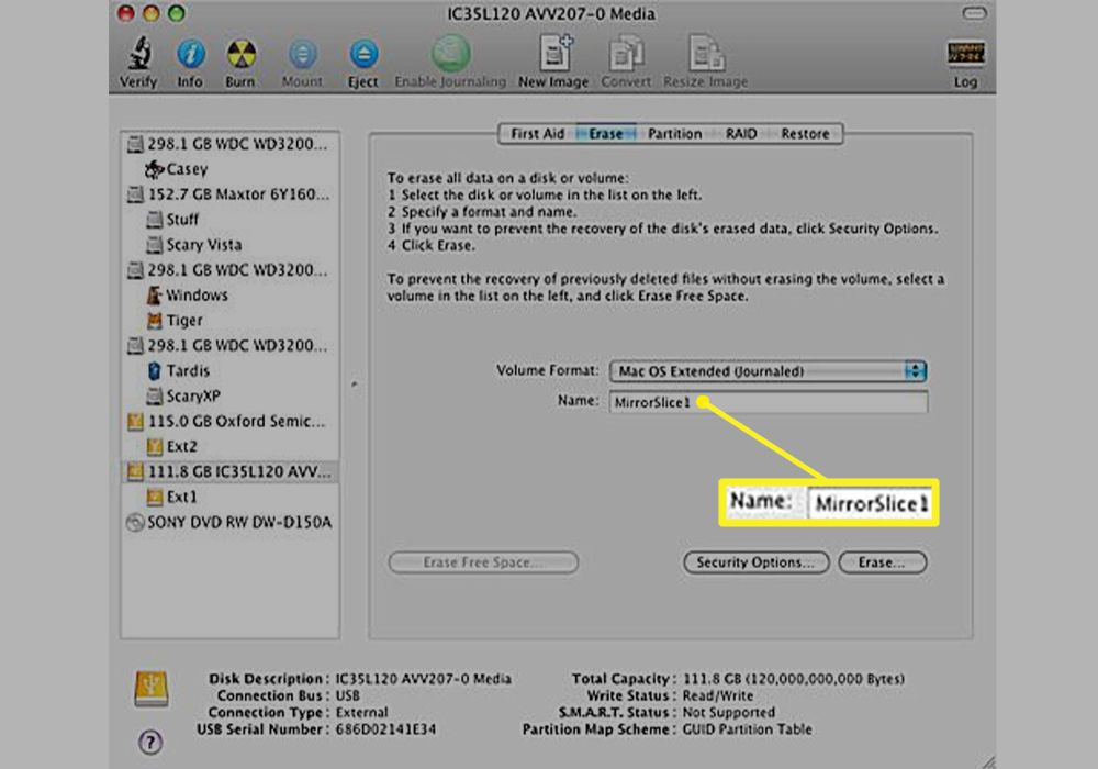 Disk Utility with the volume name field highlighted