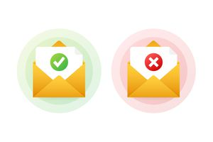 Two envelope with approved and rejected letters. Vector illustration.