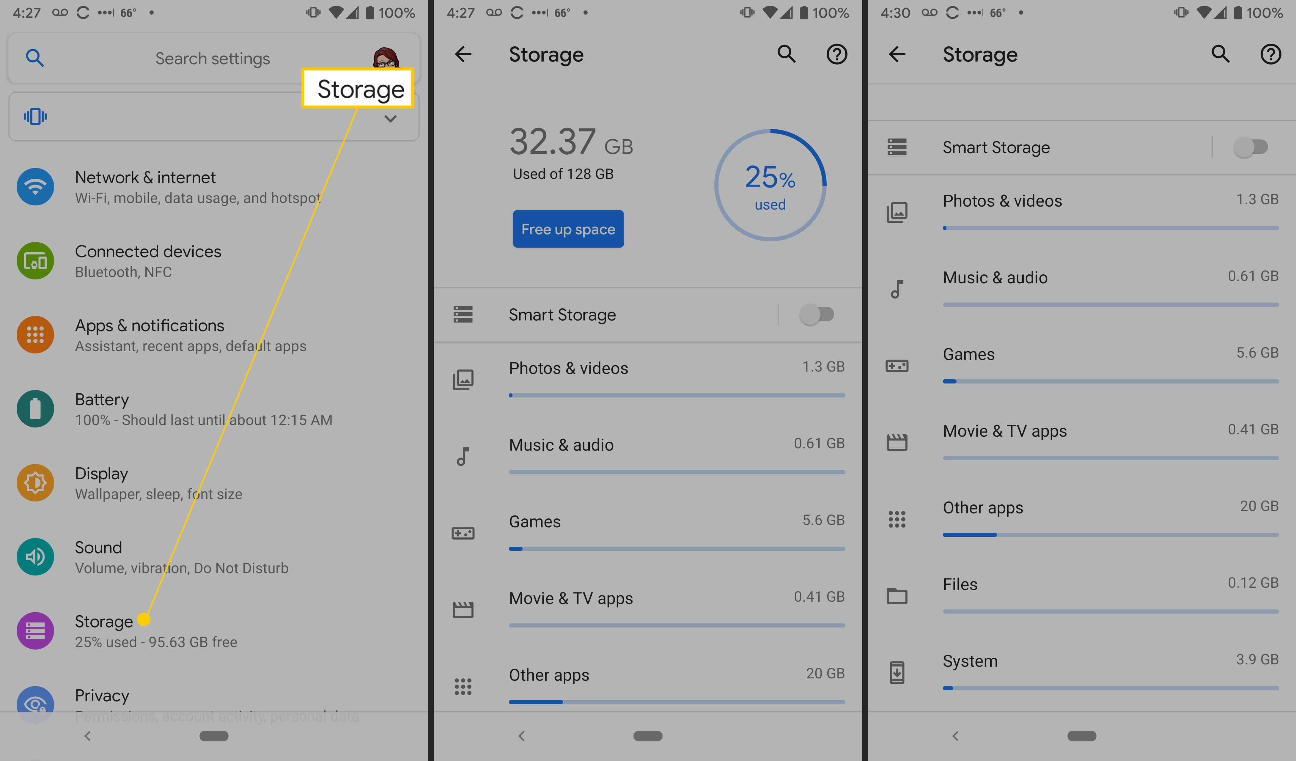 Android storage settings.