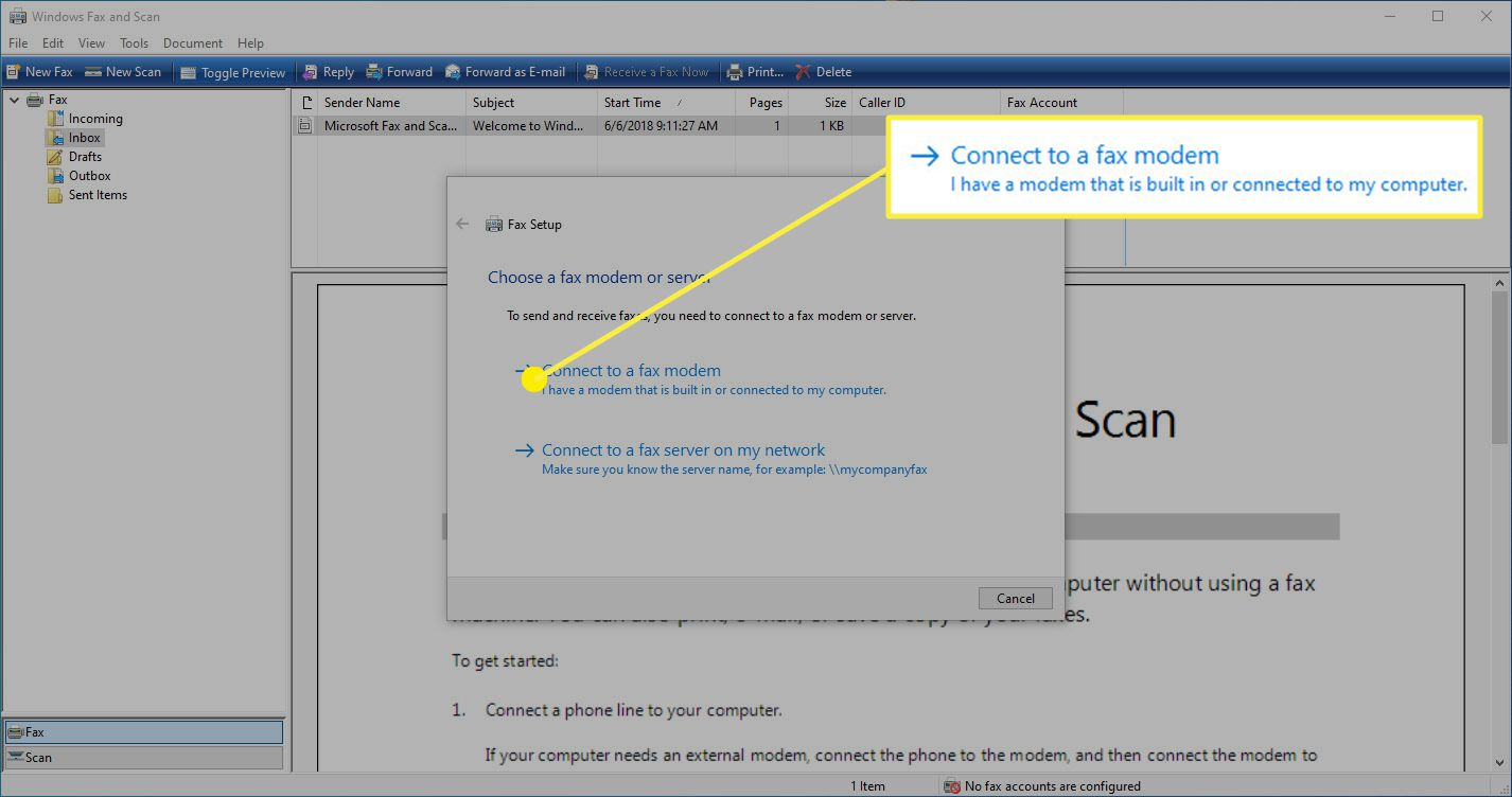 The option to connect a fax modem in the Windows Fax and Scan app.