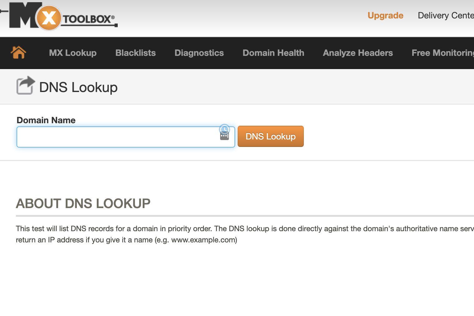 MX Toolbox DNS lookup