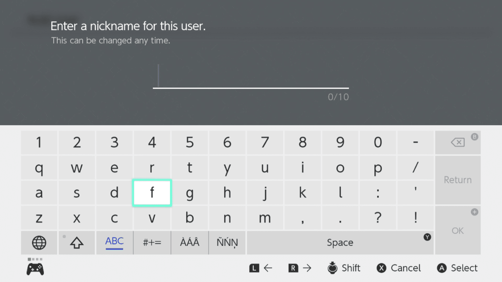 Entering a user nickname on Nintendo Switch.