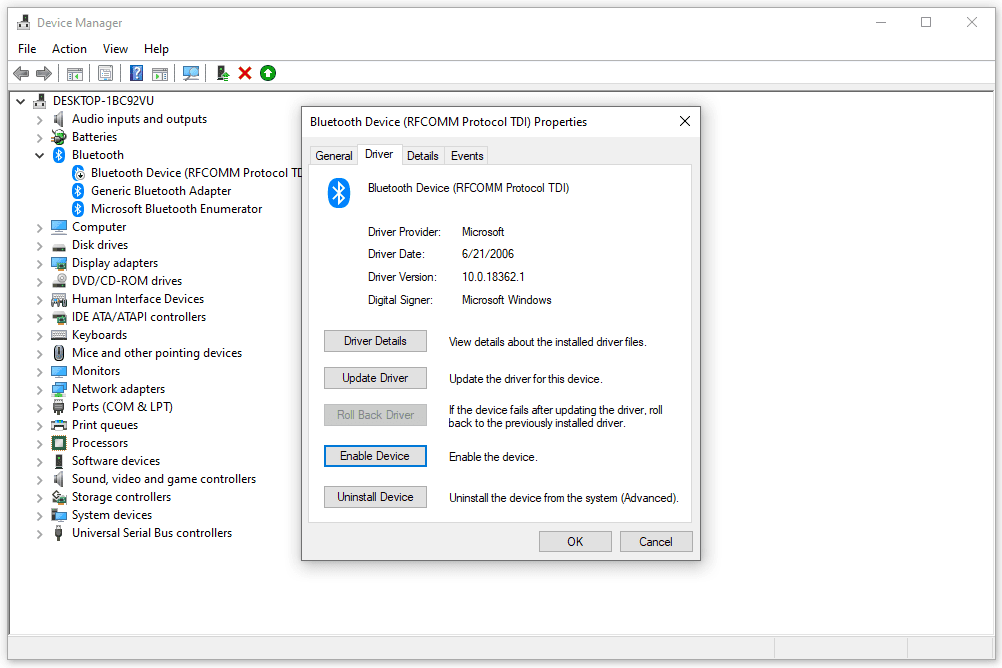 Enable Device button in Device Manager