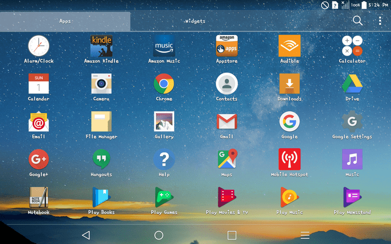 Screenshot of Apps Menu with New Font