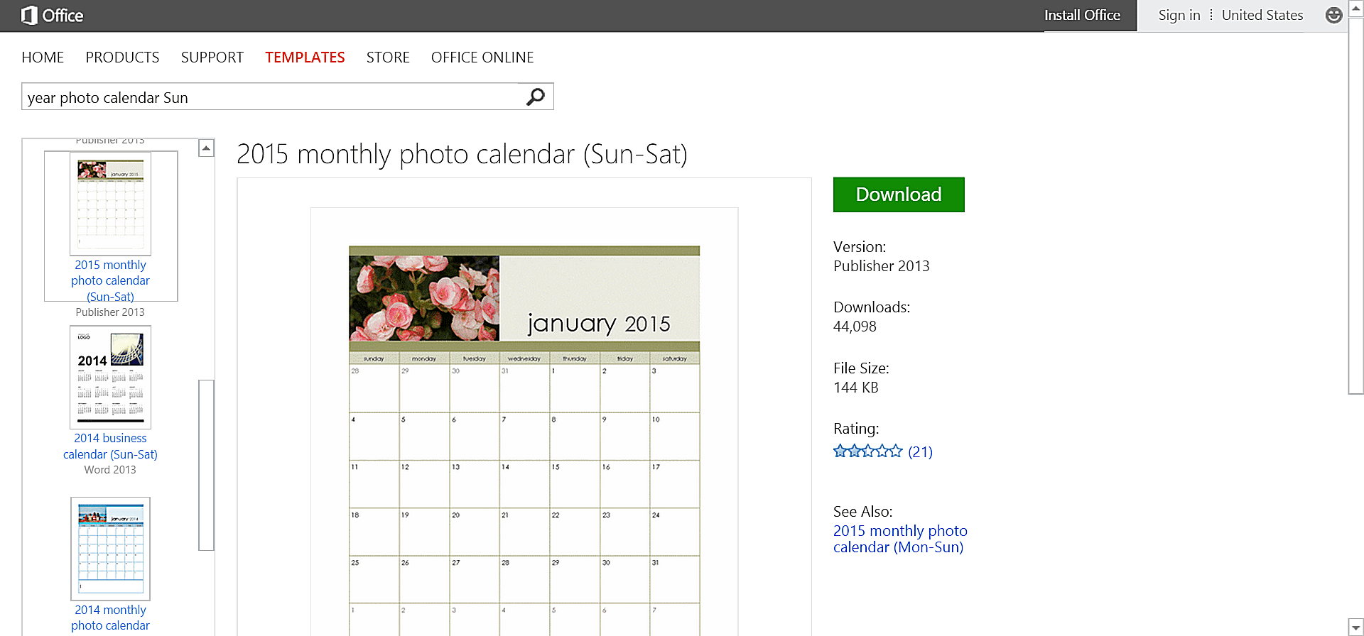 microsoft office calender template