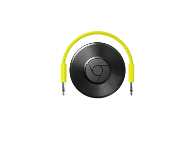 The Google Chromecast Audio device plugs into traditional speakers so you can stream content from your computer or mobile device.