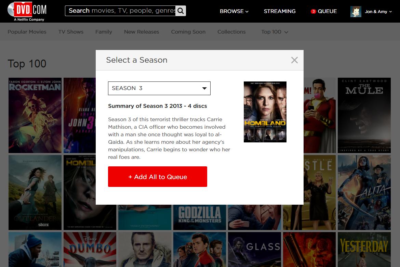 DVD Netflix Add All to Queue button