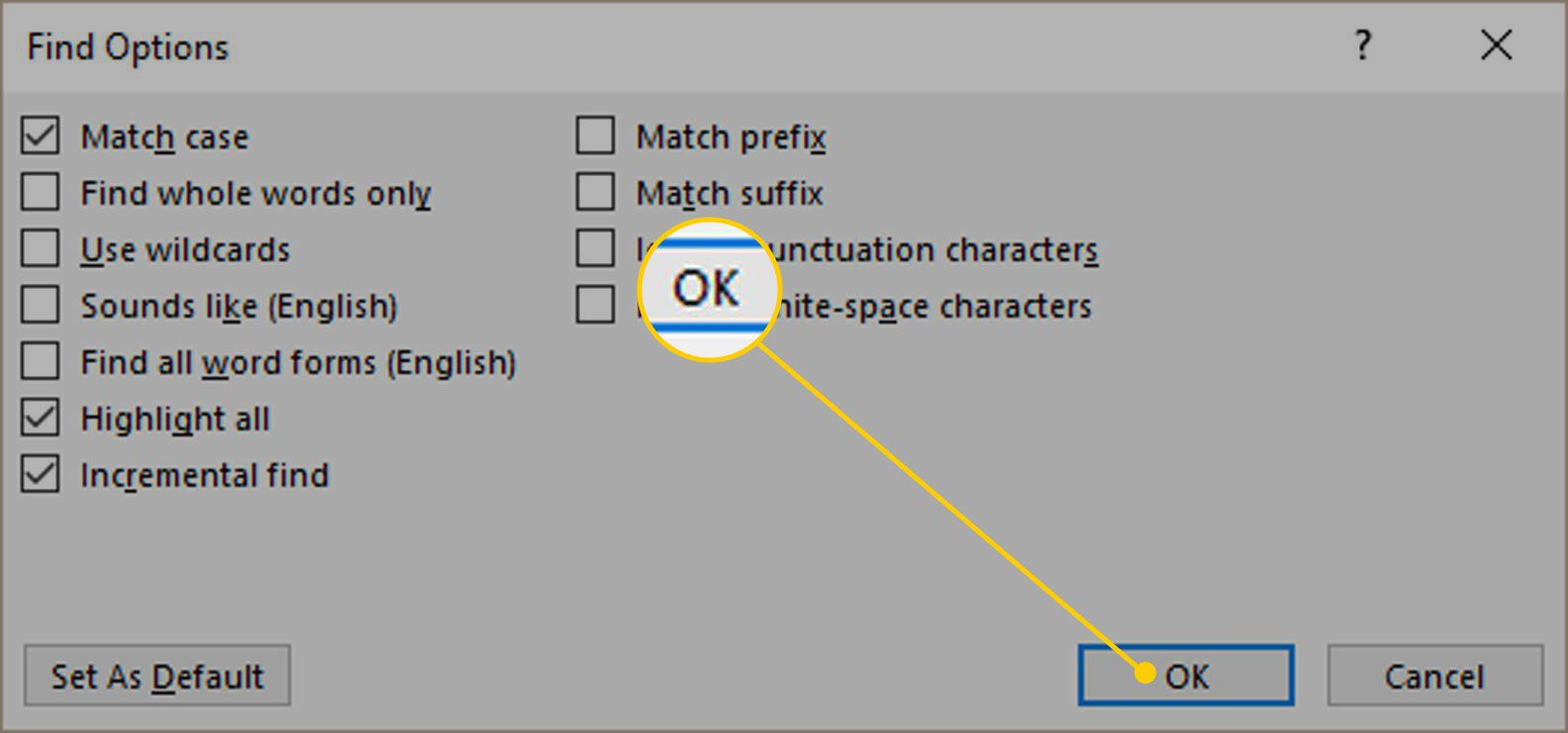 Find Options in Word with the OK button highlighted