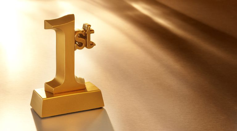 Photo of a gold first-place trophy