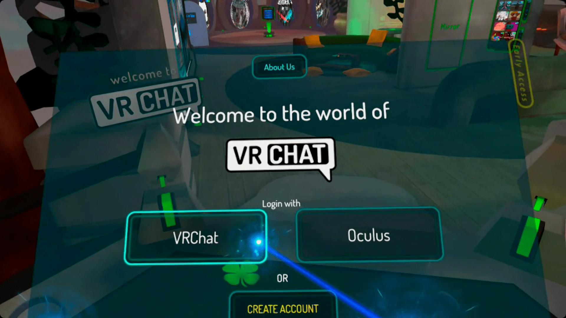 Logging into VRChat on Quest.