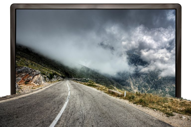 TV in 3D - Road into a mountain scenic
